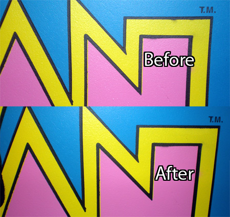 Ms. Pac-man Fixing Overspray Before & After