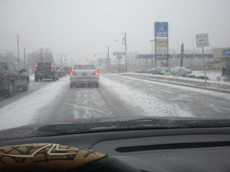 Driving in winter weather to get Frogger