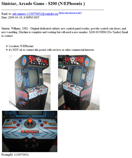 Sinistar for $200 Craigslist – Phoenix Arizona