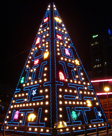 Pac-man Christmas Tree in Madrid Spain