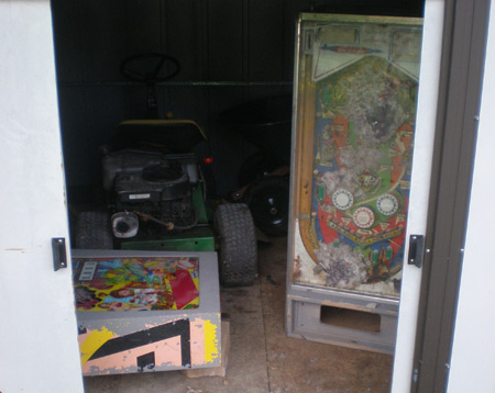 Flying Carpet Pinball Machine Stored in shed