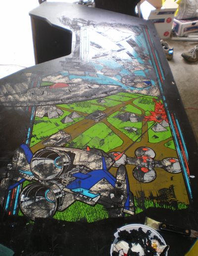 Xevious Cabinet with art showing through