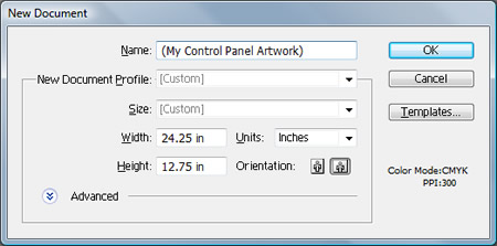 New Document Dialog Box Dimensions