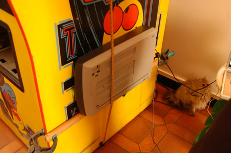 Scanning cabinet with bungie cords
