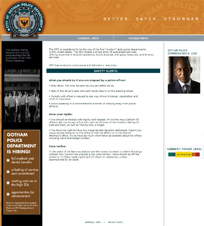 Gotham Police Website Homepage