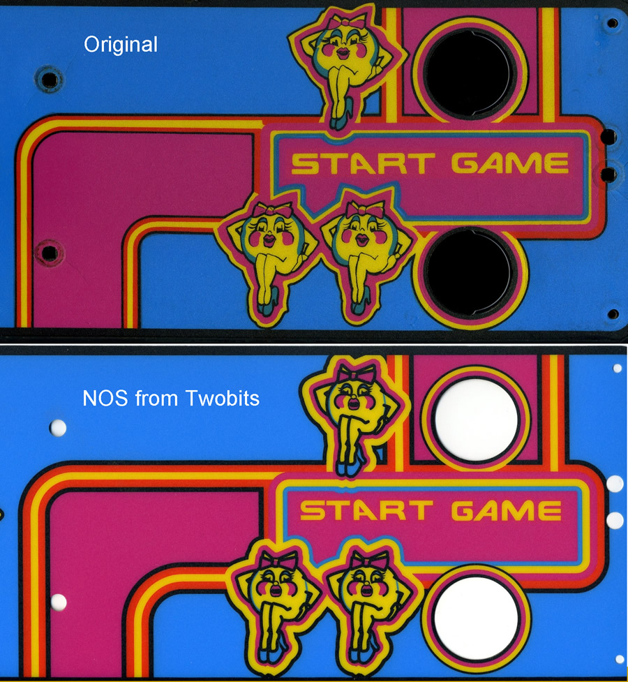 Two Bits Ms  Pac-man Control Panel Overlay Artwork Inaccurate